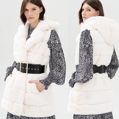 LB Ivory Faux Fur Belted Gillet