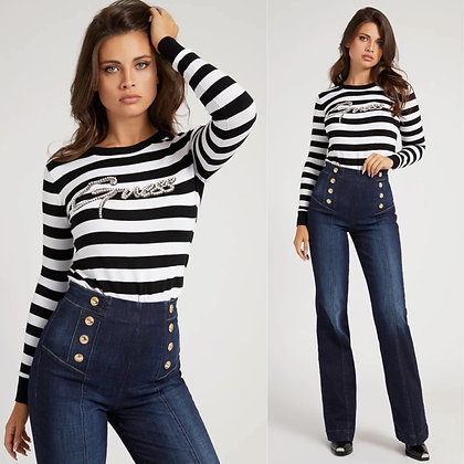 Guess Striped Embellished Sweater