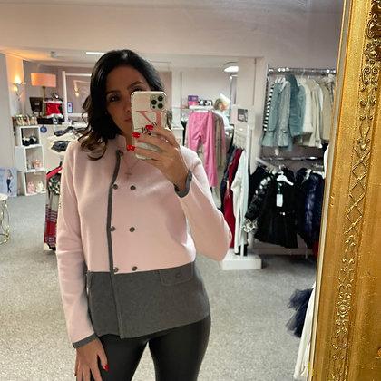 PASSIONI Pink & Grey Button Jumper
