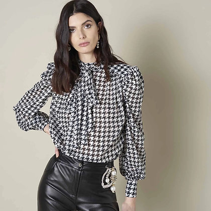 LB Houndstooth Bow Blouse