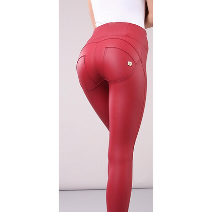 FREDDY Red Leather High Waist Zip