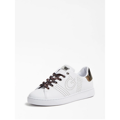 GUESS White with Camo Laces Perforated Pump