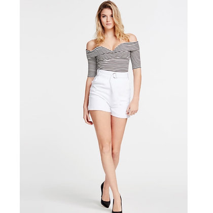 GUESS White Belted Shorts