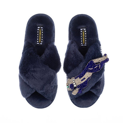LAINES Navy Fluffy Slippers Pearl & Gold Panther Brooch