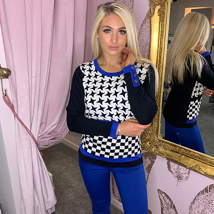 LB Dogtooth & Blue Button Sweater
