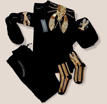 LAINES Black & Gold Shimmer Stripe Cotton Socks With Lobster Brooch