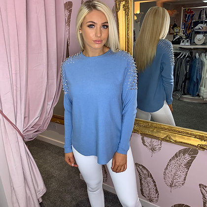 PASSIONI Soft Blue Embellished Sweater