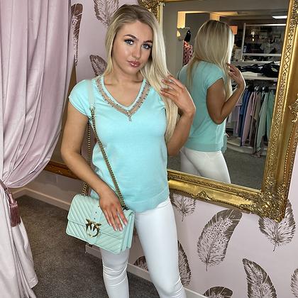 LEO Aqua Knit Tee with Silver Embellishments