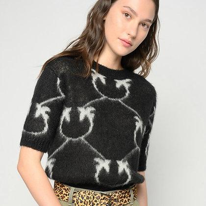PINKO Black Monogram Jacquard Sweater