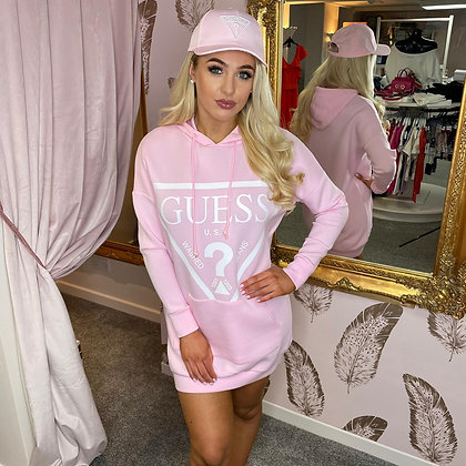 Guess Pink Triangle Hooded Sweater Dress
