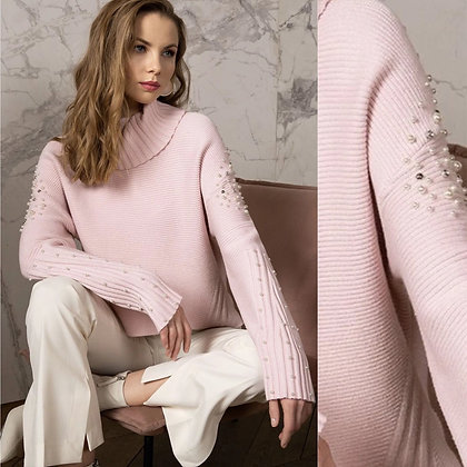 PASSIONI Pink Embellished Knit Roll Neck