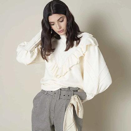 LB Cream Frill Knit Sweater