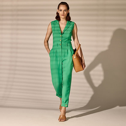LB Green Jumpsuit with Cuffed Hem & Gold Buttons