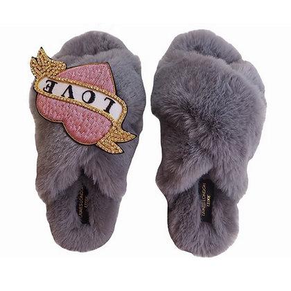 LAINES Luxury GREY LOVE Slippers