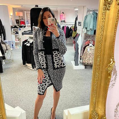 PASSIONI Grey/Leopard Jacket & Skirt Set