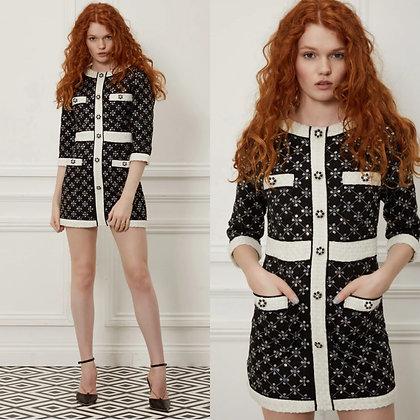 LB Black Sequin Check Dress
