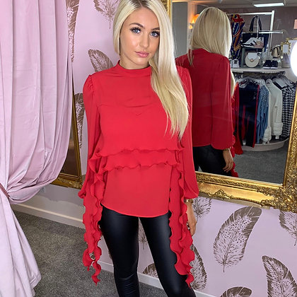 LB Red Frill Blouse