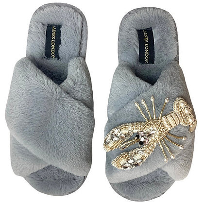 LAINES Grey Fluffy Slippers Pearl & Gold Lobster Brooch
