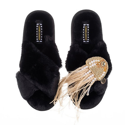 LAINES Black Fluffy Slippers Pearl & Gold Jellyfish Brooch
