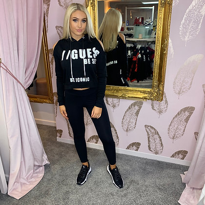 GUESS Black Cold Shoulder Hooded Sweater