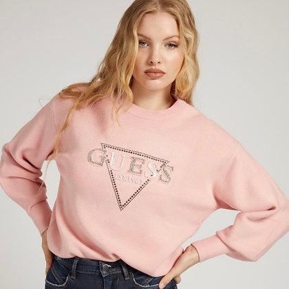 Guess Pink Rhinestone Logo Sweater