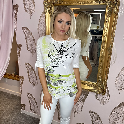 PASSIONI White with Lime Print T.Shirt