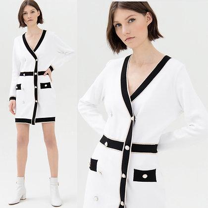 LB White Knit Blazer Dress