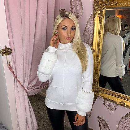 LB White Fur Cuff Sweater