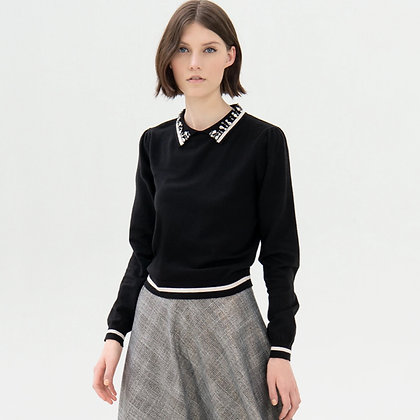 LB Jewel Collar Knit Sweater