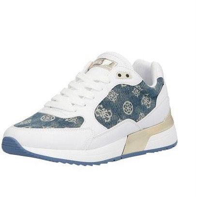 Guess White with Denim Logo Trainer