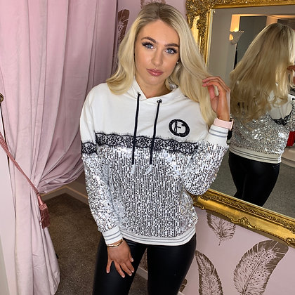 White & Silver Sequin Hoody
