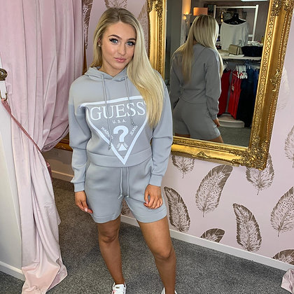 Guess Grey Triangle Hooded Sweater