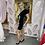 Thumbnail: LB Black with Print Ruched Dress
