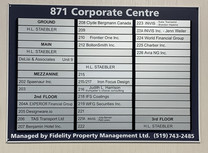 Office Name Board on Upper level after t