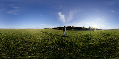 A grass field during drone flight