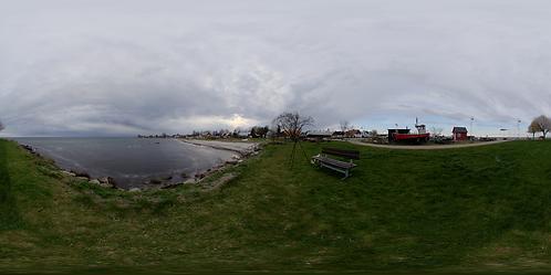 Behind a small marina