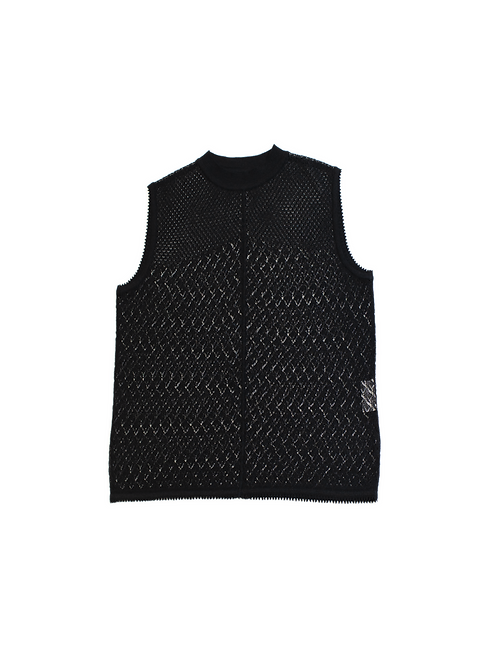 Leaves Lace Knitted Vest - Black
