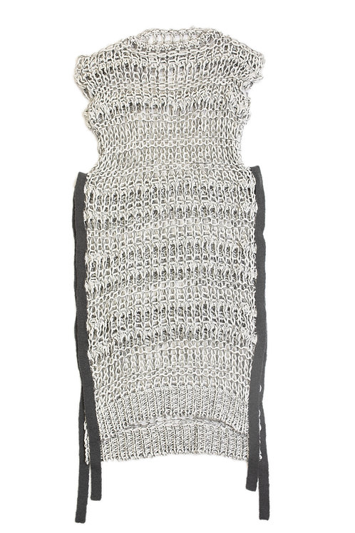 Low Gauge Knitted Dress - Gray