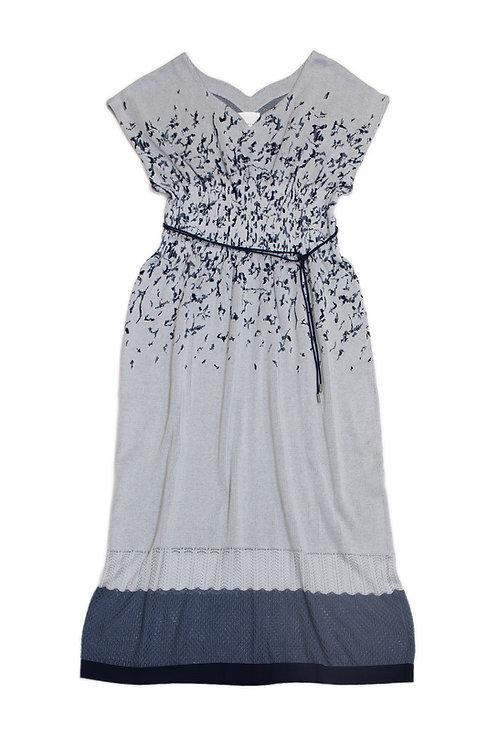 Petals Jacquard Knitted Dress - Blue