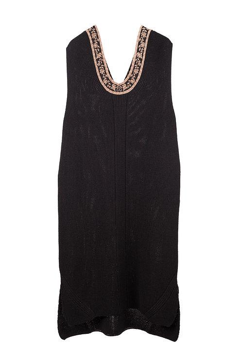 Ribbon Jacquard Knitted Vest - Black