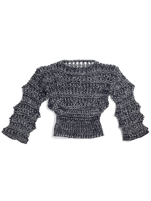 Low Gauge Knitted Top - Charcoal