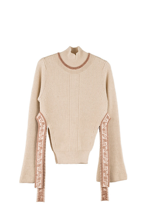 Ribbon Jacquard Knitted Top - Beige