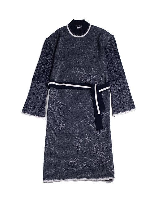Botanical Jacquard Knitted Dress - Navy