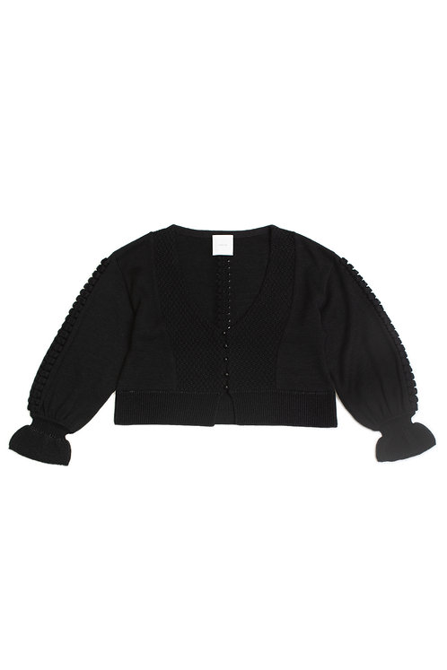 Bubble Knitted Cardigan - Black