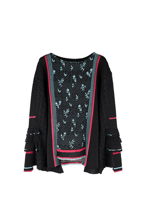 Frill Sleeve Knitted Top -Black