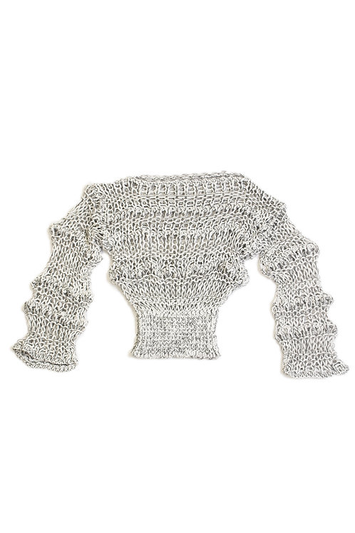 Low Gauge Knitted Top -Gray