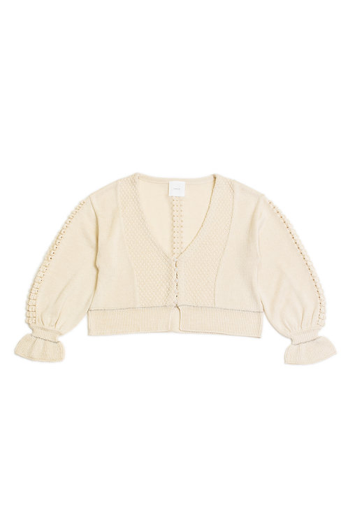 Bubble Knitted Cardigan - White