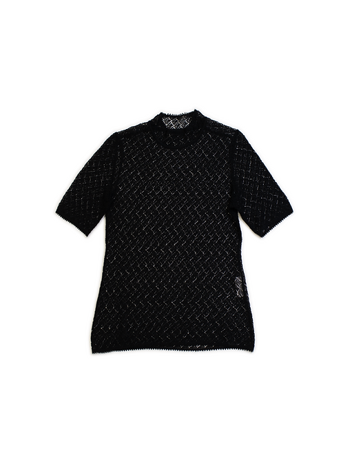 Leaves Lace Knitted Top - Black
