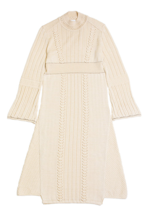 Bubble  Knitted Dress - White