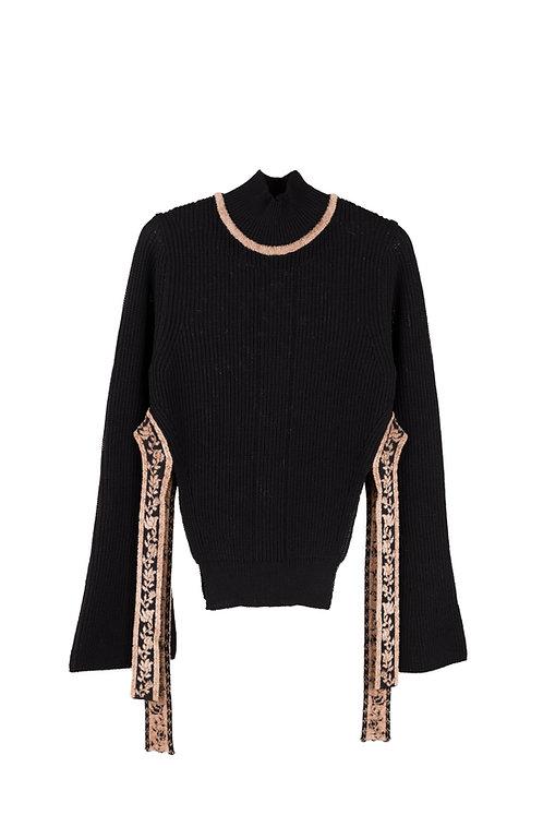Ribbon Jacquard Knitted Top -Black